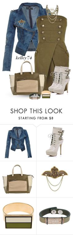 """""""Denim, Ivory and Olive 1"""" by kelley74 ❤ liked on Polyvore featuring Rare London, River Island, Reed Krakoff, BKE, Égotique and Diesel"""