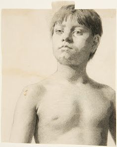 Head and Torso of a Boy. Black chalk and charcoal on off-white laid paper - Thomas Eakins 1844-1916