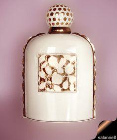Sevres Sauze Elegant Perfume Bottle Porcelain Gold Accents 1937 Polka Dots