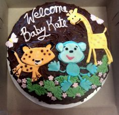 Sugar Free Jungle Animal Baby Shower Cake by Frostings Bake Shop