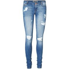 Vero Moda Eve Super Slim Fit Jeans ($42) ❤ liked on Polyvore featuring jeans, pants, bottoms, calças, destructed jeans, slim fit straight leg jeans, destroyed jeans, stretch blue jeans and zipper jeans