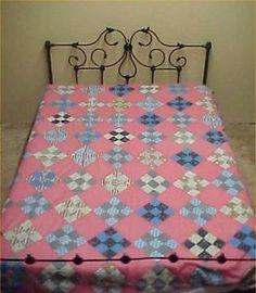 Vintage-Antique-Quilt-Top-1920s-Cotton-Fabric-Patchwork-Hand-Piece-74x84-RARE