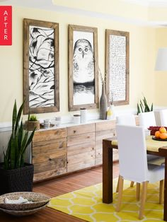 white IKEA wall unit worked fine in the dining room. But the second she saw West Elm's reclaimed wood buffet, she knew she could refresh this basic piece into a showstopper—and save over $1,100 in the process.