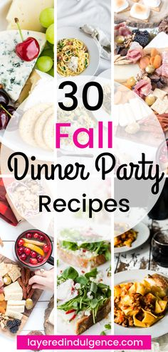 How to host a fall dinner party. 7 dinner party ideas and 30 fall recipes, from a gorgeous fall tablescape to rustic decorations to harvest menu ideas! Dinner Party Recipes, Winter Dinner Recipes, Fall Recipes, Healthy Dinner Recipes, Casual Dinner Parties, Elegant Dinner Party, Dinner Party Menu, Fall Appetizers, Tablescapes