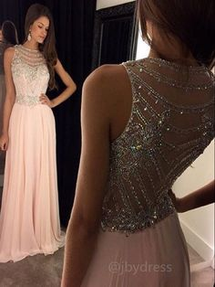 #jbydress Custom Made A Line Round Neck Sleeveless Long Pink Prom Dresses, Pink Formal Dresses