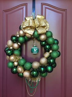 #USF Christmas ornament wreath...you know...since I'm graduating in December