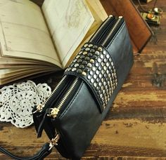 riveting women leather wallet women pursewomen by FashionZone2013, $14.90