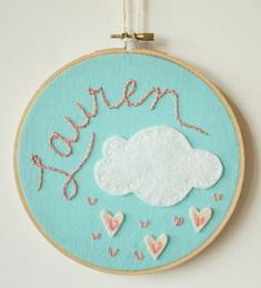 Personalized embroidery hoops = great baby gift. Love this Etsy shop and so affordable!