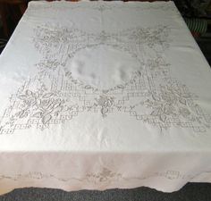 Vintage Linen Tablecloth Napkins Ecru Embroidery Taupe by KerryCan