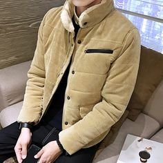 Find More Parkas Information about Quality Parka Men Fashion 2016 Thick Corduroy Winter Jacket Men Cotton padded Down Coat Fur Stand Collar Slim Fit Coat Man 5XL M,High Quality men coats on sale,China mens coat fur hood Suppliers, Cheap mens red pea coat from Eric's on Aliexpress.com