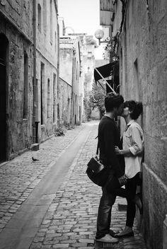 Private kisses in public places.