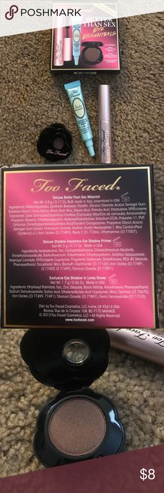 """Too Faced Better Than Sex Eye Essential Kit NWT Too Faced Better Than Sex Eye Essentials kit. These products are NOT full size.  Never used. Opened the mascara to look at it but the rest is unopened. Includes Better Than Sex mascara, Shadow Insurance eyeshadow primer and eyeshadow in """"Lovey Dovey."""" Too Faced Makeup Mascara"""