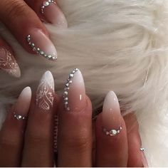 Ombre french acrylic nails beautiful this pink and white fade is one nail designs French Acrylic Nails, French Tip Nails, Almond Nails French, Ombre French Tips, Wedding Nails For Bride, Bride Nails, Glam Nails, Beauty Nails, Art Nails