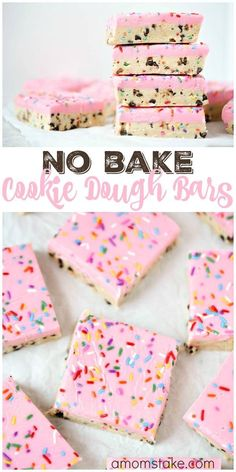 So delicious, these no bake cookie dough bars are easy to make and no baking required! You'll love this easy cookie bar dessert with sprinkles! via /amomstake/