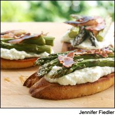 Asparagus, pancetta and lemon ricotta bruschetta; a Chilean Sauvignon Blanc makes an ideal pairing for this easy spring meal. http://www.winespectator.com/webfeature/show/id/48282