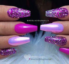 repost * Werbung (unbezahlt) / advertising (onbetaald) – – – – – Roze, Aurora effect … - Glam Nails, Hot Nails, Fancy Nails, Hallographic Nails, Colorful Nail Designs, Cute Nail Designs, Acrylic Nail Designs, Glitter Nail Designs, Coffin Nail Designs