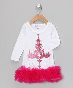 This dress boasts a cozy cotton fit that's cut to keep pace with any active angel. Fancy features like sparkly rhinestones and chiffon ruffles mean it's for the girl who doesn't shy away from the glitz and the glamour.100% cottonMachine wash; hang dryMade in the USA