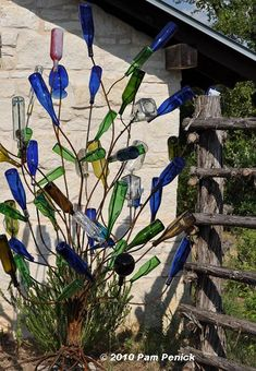 Bottle tree, part of a folk art exhibit at the Wildflower Center