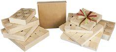 Panibois: assortiment de boîtes à emballages faites de bois / Panibois: assortment of wooden gift boxes