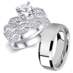 His Hers 3 pcs Men's Stainless Steel Band & Women Infinity Sterling Silver Wedding Engagement Ring Set