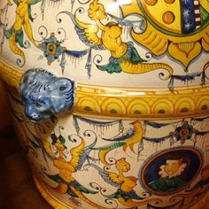 Bonechi Imports - Detail of Montelupo Grottesco Orcio - Italian pottery from Tuscany. We ship for free for any orders over $100.00 in the continental US.