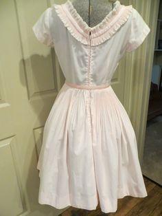 VTG. 50'S-60'S PALE PINK PLEATED FULL SKIRT COTTON PARTY WEDDING DRESS | eBay