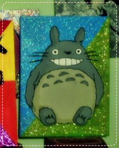 Glitter Totoro  Hand Painted 30x40 cm #totoro #ghibli Totoro, Ghibli, Fanart, Glitter, Hand Painted, Painting, Painting Art, Fan Art, Paintings