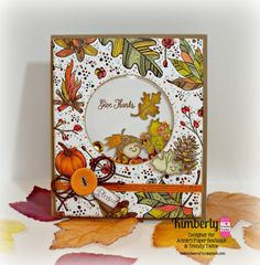 Fall Starbucks cup made into a Shaker card using Hello Fall APB stamps and Autumn sequin mix -Kimberly's Crafty Spot: November 2015
