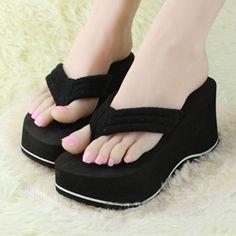 89ad82a9ea2bde Women Wedge Flip Flops Thick Platform High Heel Slippers Thong Sandals Shoes