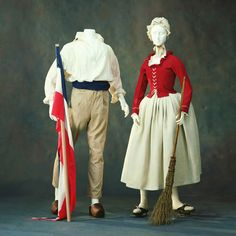 An example of the style of clothing worn by the working class around the time of the French Revolution, characterized by the long trousers worn by men, rather than the breeches.