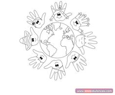 children around the world Multicultural Activities, Bible Activities, Kindergarten Activities, Doodle Coloring, Coloring Books, Coloring Pages, All About Me Preschool, Preschool Art, School Projects