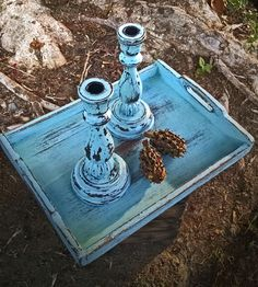Elegant Vintage Inspired Shabby Chic / Rustic wood serving tray perfect for your wedding / bridal shower / to display bath towels & homemade soaps or as a unique handmade gift for someone amazing.  Solid wood, handpainted and distressed with a cool aqua blue chalk paint, and finished with a clear coat for durability. https://www.etsy.com/listing/206678302/distressed-shabby-chic-rustic-aqua-blue?ref=listing-shop-header-0