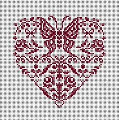 grilles point de croix. Butterfly heart cross stitch x-stitch       St Valentine