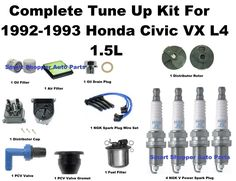 Tune Up Kit 1992-1995 Honda Civic VX Spark Plug Wire Set, Oil Air Fuel Filter PC #AftermarketProducts