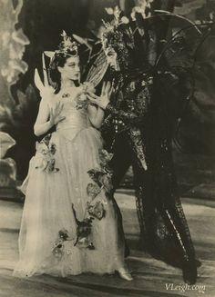 Vivien Leigh as Titania and Robert Helpmann as Oberon in Midsummer Night's Dream, Old Vic, 1937