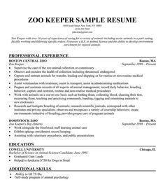 sample resume zookeeper resume resumeexamples sample zookeeper