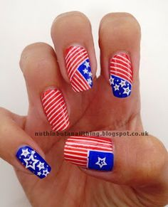 usa flag nail art