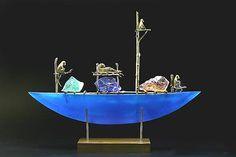 Glass Moon Sculpture  Glass & Bronze Sculpture    monkey boat Georgia Pozycinski and Joseph Pozycinski