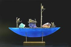 Glass Moon Sculpture  Glass & Bronze Sculpture    monkey boat Georgia Pozycinski and Joseph Pozycinski