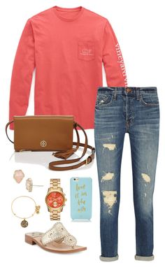 """open house // day 267"" by littlebitofeverything ❤ liked on Polyvore featuring moda, Vineyard Vines, J Brand, Jack Rogers, Tory Burch, Kate Spade, Michael Kors, Kendra Scott i Alex and Ani"