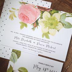 Garden Wedding Invitation | Ultra Thick Paper, Floral, Wedding Invitation, Invitation Set, Calligraphy, Custom Invitation, Wedding Invite by TheWoolberryPress on Etsy