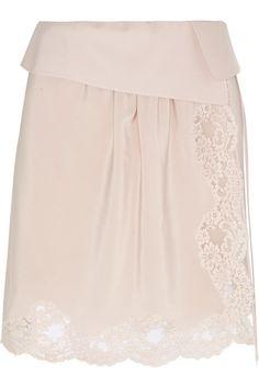 Chloé | Lace-trimmed silk crepe de chine mini skirt | NET-A-PORTER.COM