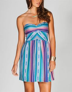 Roxy cotton tube dress with multicolor stripes & sweetheart neckline