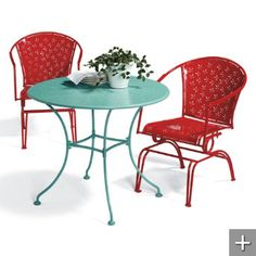 Outdoor patio chairs ... Serena Retro Collection. I dig it. I hate that I dig it. Yet, I dig it.