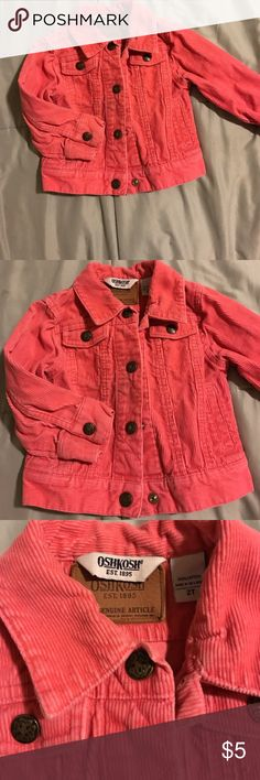Pink corduroy OshKosh jacket Snap front pink corduroy OshKosh jacket, perfect for spring and fall. Osh Kosh Jackets & Coats Jean Jackets