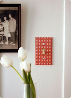 How to cover a light switch plate with fancy paper
