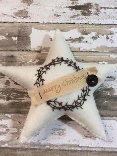 Christmas Star Felt Ornament Hand Embroidered Tree Decoration