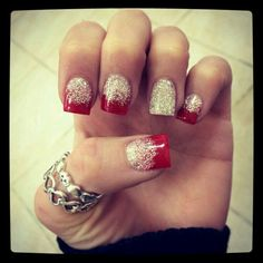 Glitter silver and red frenchtip nailart #nailart #nails #winter #red #glitter #silver #frenchtip