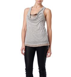 Enjoy understated elegance with just a flash of dazzle in our drape neck tank with matte sequin inset