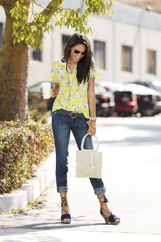 SPRING & SUMMER FASHION TRENDS 2017! Beautiful summery yellow short sleeved floral top, dark wash boyfriend jeans and lace up with tassel navy wedge. Cream / white straw tassel bag. Ask your STITCH FIX stylist to send you something this. Click the pic to sign up TODAY! #Sponsored